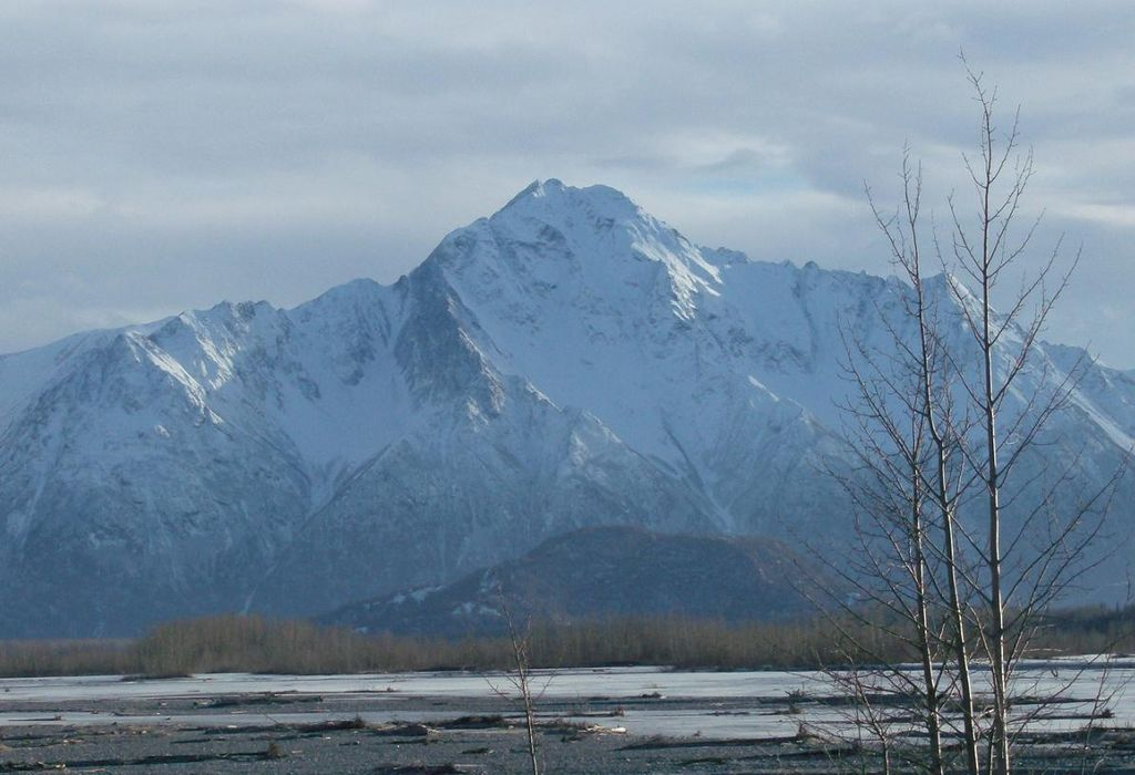 Bodenburg Butte in front of Pioneer Peak in the Mat-Su Valley, Alaska