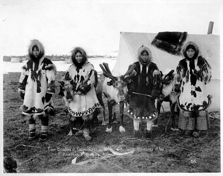 Four Eskimo women with reindeer, Cape Prince of Wales, Alaska, ca. 1904